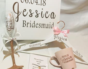 Bridesmaid gift box with custom hanger, personalised cup, custom wine glass, maid of honour bridesmaid gift, bridal party wedding gift