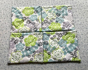 blue green and grey flowers hand quilted set of mug rugs coasters