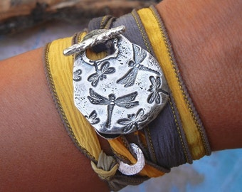 Dragonfly Jewelry, Dragonflies Bracelet, Sterling Silver Silk Wrap Bracelet