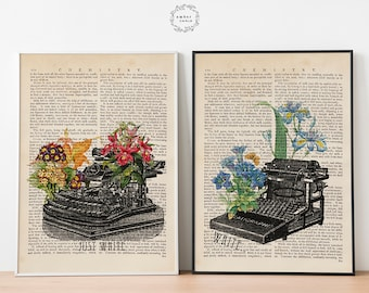 Just Write 2 Poster Set, Book Page Prints, Typewriter Poster, Blue Flower, Watercolor Flowers, Antique Typewriter, Gift for Writer, Unframed