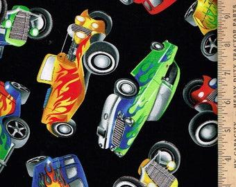 Hot Rod Cars,  On Black,Timeless treasures