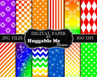 Rainbow Scrapbook Paper - Instant Download Rainbow Pattern Paper for Wedding, Scrapbook, Backgrounds, Cards 12x12 - HMD00096