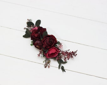 Burgundy pink red flower comb Hair flowers Bridal floral headpiece Wedding flowers Floral accessories Bridesmaid comb Outdoor Flower girl