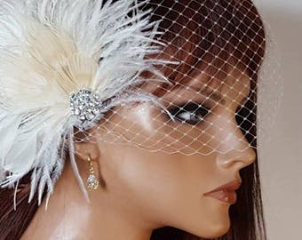 Fascinator AND French net veil, Feather Hair Clip, Wedding Accessories, Bridal Hair Fascinator, Vintage Style, Great Gatsby, Bridal Comb,