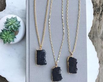 Black Druzy Necklace Long Gold Layering Necklace Black Agate Slice Necklace Boho Chunky Matte Black Rectangle Bar Agate Vertical Pendant