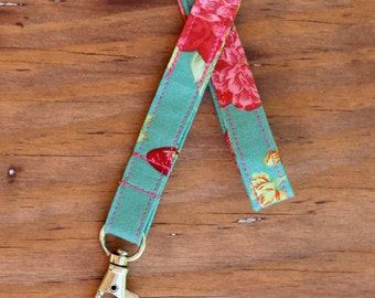 Lanyard, blue green floral cotton lanyard, id holder necklace, badge clip, nurse appreciation gift, student, teacher appreciation