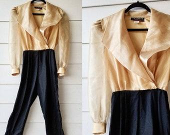 1980s Gold and Black Jumpsuit    Medium