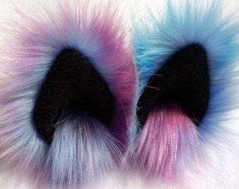 Galaxy blue pink purple animal ear hair clips with black fleece clip on cat ears, cat ear hair clips