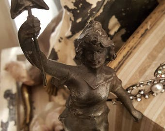 1910's Antique Art Nouveau Female Spelter Statue Holding a Star~ La Nuit