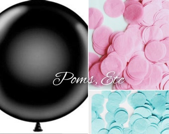 "Gender Reveal Balloon 36"" with confetti pack Tissue Paper - ANY COLOR you choose gender confetti balloon"