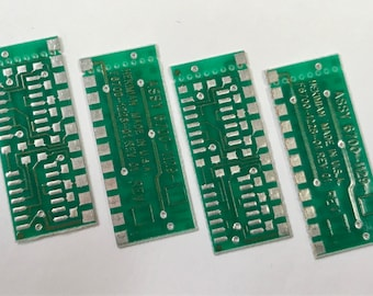 "Vintage RECYCLED Loose Printed Circuit Board Reclaimed (PCB) Green Silver 1-1/16 x 7/16"" Pkg4 PCB28"