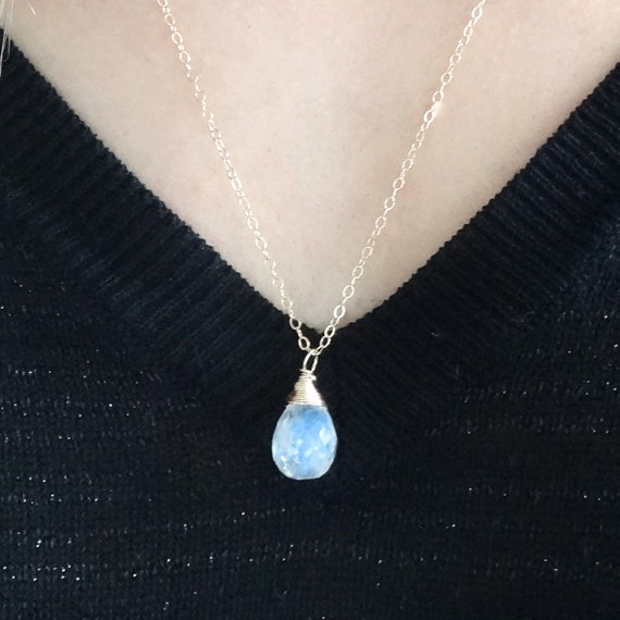 Dainty Moonstone Pendant Necklace