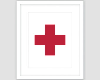Swiss Cross Print, Plus Sign, Cardinal Red and White, Modern Geometric Print, Instant Download, DIY, Printable