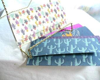 Trésorerie enveloppes portefeuille, système d'enveloppe de trésorerie, portefeuille de Cactus, enveloppes de Cactus, plantes grasses, Slim porte monnaie, portefeuille, Womens Wallet