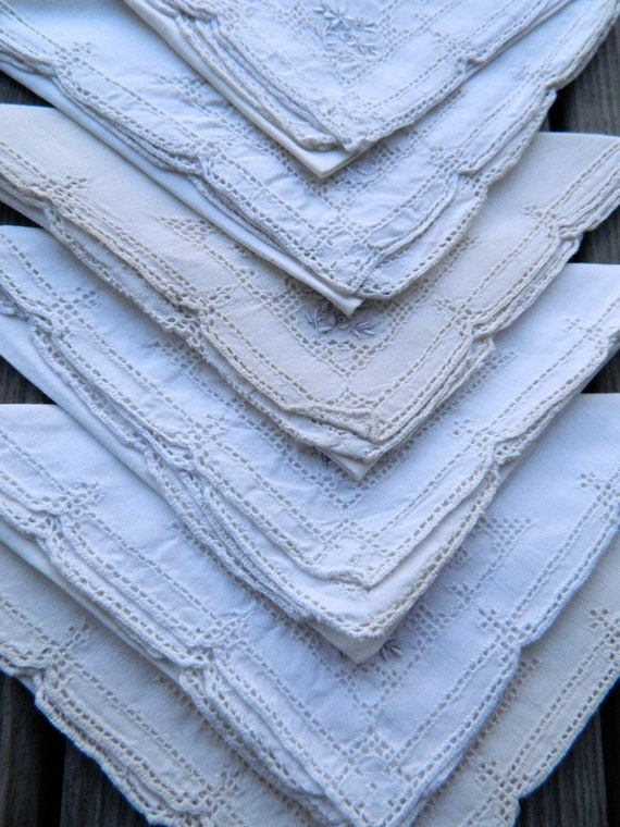 Set of 12 Vintage White Linen Luncheon Napkins with Embroidery and Drawn Work