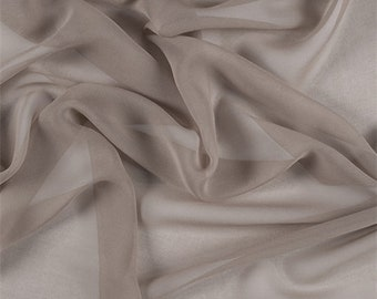 Bronze Wide Silk Chiffon, Fabric By The Yard