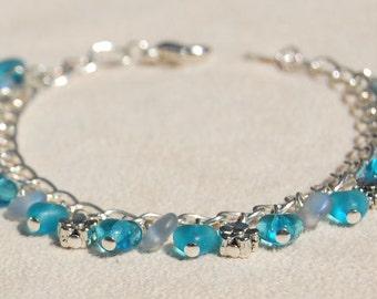 Womens or Girls Electric Blue Heart Bracelet   --  Rain Drops   --