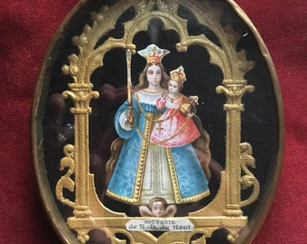 Antique French ex-voto reliquary, frame brass and glass religious lithography