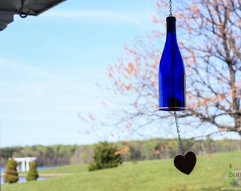Cobalt Blue Wine Bottle Wind Chime - Gift Ideas - Outdoor Decor - Yard Art - Garden Gift - Wine Bottle Decor - Wine Bottle Chime - Windchime