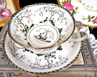 STAR PARAGON tea cup and saucer courting couple painted teacup pattern set