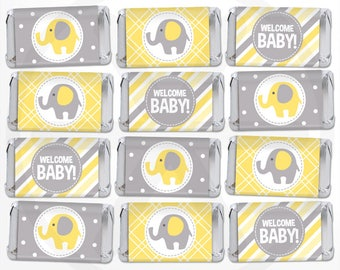 Elephant Mini Candy Bar Wrappers - Mini Chocolate Bar Wraps - Printable Party Favor Labels - Nugget Wraps - Yellow and Gray Baby Shower