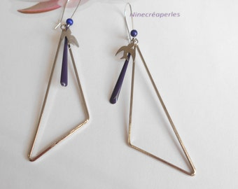long triangle silver sequin Navy Blue swallow charm