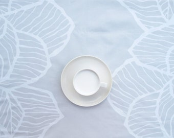 Tablecloth beige grey white abstract leaves , table runner , napkins , curtains , pillows available, great GIFT