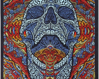 Psychedelic Tapestry 3d mindful skull 60 X 90 wall hanging dmt lsd hippie art