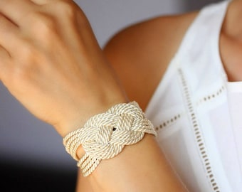 Sailor Knot Bracelet Ivory White Bracelet Knot Bracelet Rope Bracelet Nautical Sailor Knot Rope Knot Nautical Bracelet Nautical Knot NT