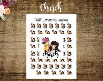 Church | Glam Church Girl | Church Event | Printable Planner Stickers | Planner Printables | Printable Stickers | Church | Brunette