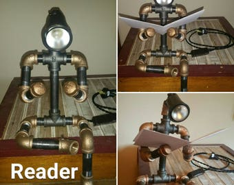 Robot Lamp Steampunk Cast and Brass Pipe Light The Reader