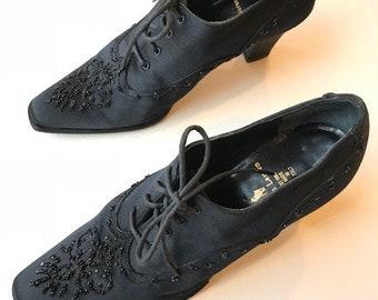 Vintage Ralph Lauren Lace Up Black Satin Heels Size 8.5