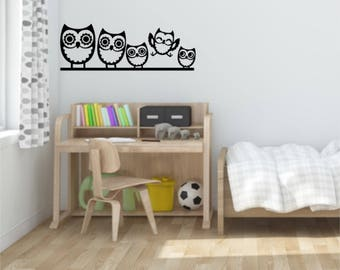 Owl family wall decal - vinyl decal sticker