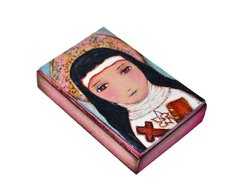 Saint Catherine of Siena - Aceo Giclee print mounted on Wood (2.5 x 3.5 inches) Folk Art  by FLOR LARIOS