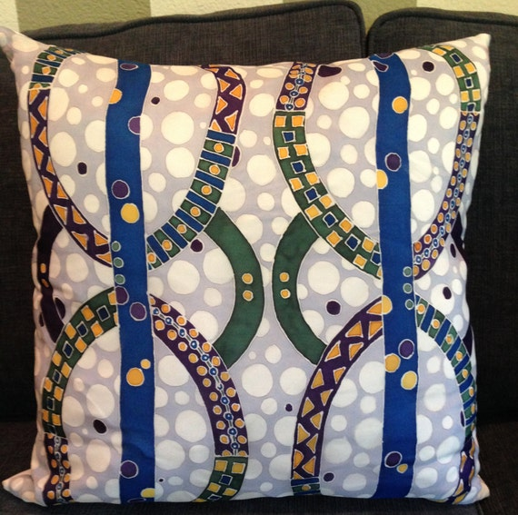 LEAVING TRACKS - Hand Painted Silk Decorative Pillow