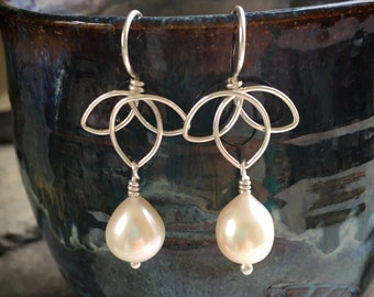 Pearl Lotus Earrings