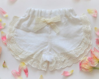 Linen toddler girl shorts