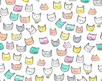 Catitude, Dear Stella Fabrics, White Cat Heads, Fabric by the Yard, ST-1002WHT