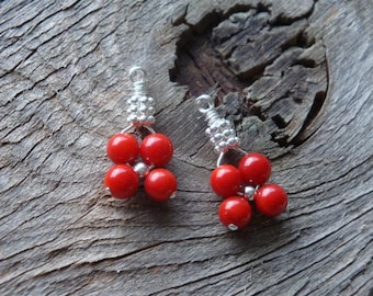 """CRANBERRY CORAL Flower Weave Earrings """"It's Beginning to Look a lot like Christmas"""" Fruit Cake - Farmed CORAL in Sterling Silver Wardrobe"""