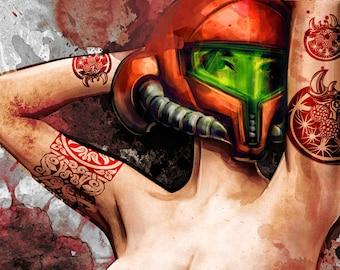 Metroid Samus Aran Sexy Pinup Zero Suit Painting Art Print Warning NSFW - MATURE CONTENT