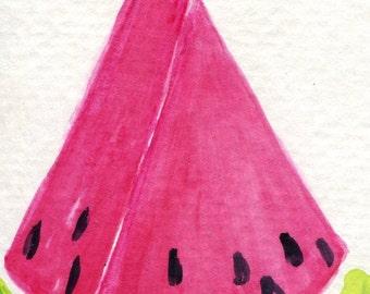 ACEO original Watermelon Watercolor Painting Art Card, fruit art, melon artwork, SharonFosterArt