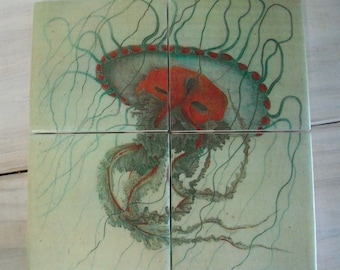 Red Jellyfish Coasters Set of 4 - Red Jellyfish Vintage Painting Coasters