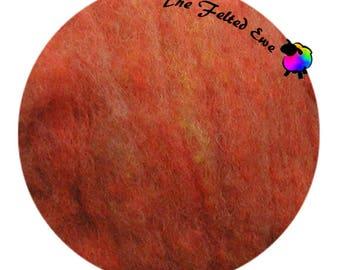 Needle Felting Wool Batt / HFB5  Tangerine Carded Wool Fluffy Batt