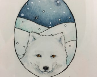 Winter Fox Watercolor - Small Painting