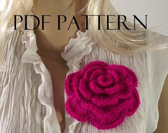 CROCHET FLOWER PATTERN flower Pin Rose flower crochet Embellishment Brooch flower pdf pattern Instant Download