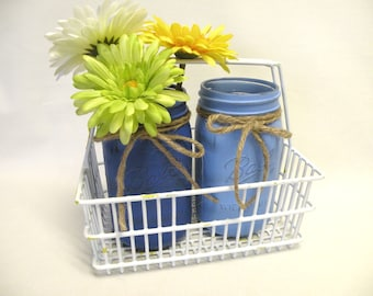 Painted Mason Jar Vases in White Wire Crate or Basket - Blue - Upcycled - Beach, Coastal, Country Decor - Shabby Cottage Chic, Centerpiece