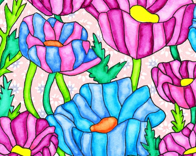 Painting / Art Print / Flower Nature Garden / Unique Artwork Gift /Mother Children  Nursery Baby Shower Girl's Room / Poppies