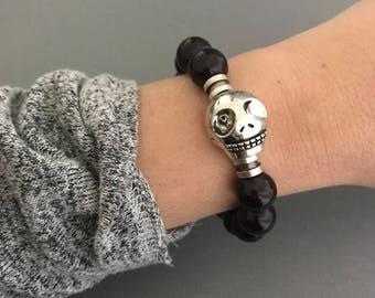 Skull Bracelet, Oxblood Skull Bracelet, Men's Skull Bracelet, Maroon Bracelet, Johnny Depp Bracelet