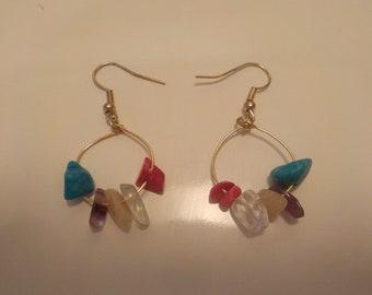 Mixed Gemstone hoop earrings