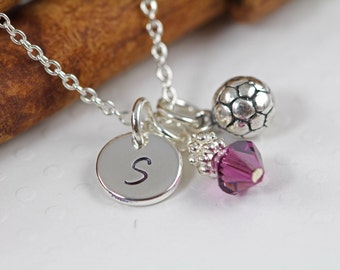 Girl Soccer Charm Necklace Personalized - Initial Necklace for Girls - ALL 925 Sterling Silver